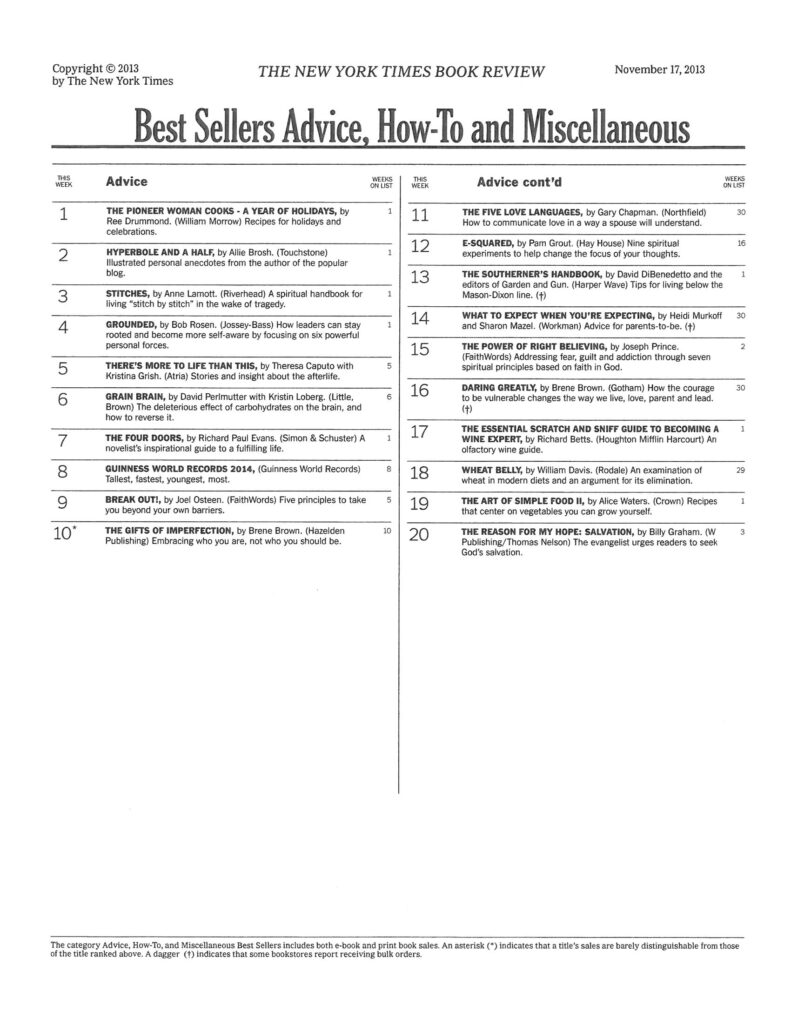 New York Times Best Seller List.11.6.13